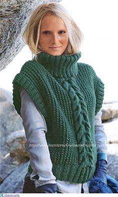 - N° 570 Sleeveless sweater pattern by Bergère de France Knitting Stitches, Knitting Designs, Hand Knitting, Knitting Projects, Knit Vest Pattern, Knit Patterns, Crochet Woman, Knit Crochet, Ärmelloser Pullover