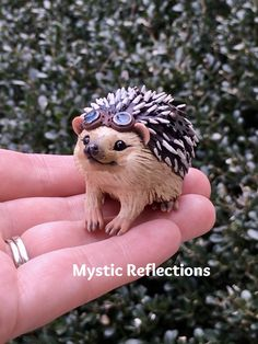 Steampunk Hedgehog Animal Pal Handmade Ooak Polymerclay Sculpture by Mytic Reflections Hedgehog Animal, Polymer Clay Creations, Fantasy Artwork, Steampunk, Etsy Seller, Owl, Sculpture, Bird, Creative