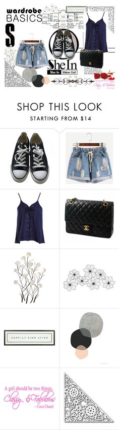 """shein"" by ambis85 ❤ liked on Polyvore featuring Converse, Sans Souci, Chanel, Universal Lighting and Decor, Home Source International and Vintage Playing Cards"