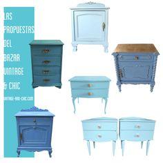 VINTAGE & CHIC: decoración vintage para tu casa · vintage home decor: Mesitas azules · Blue bedside tables