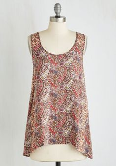 Summer Cider Top. Neutral and sweet with an eye-opening kick - your chic paisley tank is a fantastic reflection of the libation you sip! #multi #modcloth