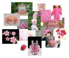 Pink! by bonniessewcrazy on Polyvore featuring art with ColdhamCuddlies Pink and White Fleece Bunny centre stage!  Thanks Bonnie for the boost!