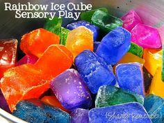 Rainbow Ice Cube Painting - beat the heat with this fun, colorful rainbow themed sensory andart activity for preschoolers.