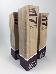Timber sculptural award, bespoke design trophy with custom print. Created by Artisaned Awards. Wayfinding Signage, Signage Design, Diy Trophy, Pylon Sign, Standee Design, Electronic Packaging, Neon Box, Plaque Design, Trophy Design