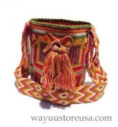 Mochila Wayuu or Wayuu Bag ~  Crossbody 11 in. H x 9 in. W, strap drop 20 in.