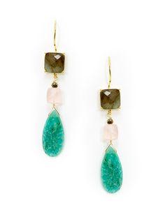 Labradorite, Rose Quartz, & Amazonite Drop Earrings from Everyday Drop Earrings on Gilt