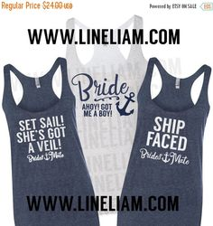 3DAY SALE bridesmaid tanks nautical bridesmaid tanks by LineLiam