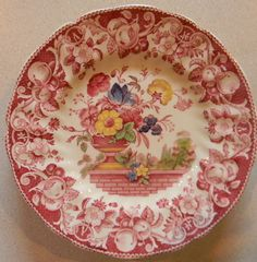 Vintage Red Transferware Polychrome Plate by EnglishTransferware