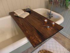 Custom made reclaimed pine barnboard wood bathtub caddy tray (tub table) 3 planks on Etsy, $82.01