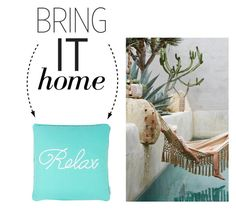 """""""Bring It Home: Relax Pillow"""" by polyvore-editorial ❤ liked on Polyvore featuring interior, interiors, interior design, home, home decor, interior decorating and bringithome"""