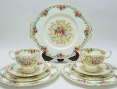 "Paragon ""Minuet"" 2 Quads Tea Cups Saucers Side and Salad Plates Cake Plate Needle Point Tapestry Vintage Fine Bone China Made in England by TheVintageFind1 on Etsy https://www.etsy.com/au/listing/277981692/paragon-minuet-2-quads-tea-cups-saucers"