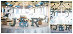 tin letters for cake table - Filter Building Wedding at White Rock Lake using rocks geodes and lighthouses by Dallas Wedding Photographer Christina Truelove