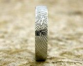 14K White Gold Finger Print Ring or Thumbprint Wedding Band Concave Matte Personalized Customized. $1,075.00, via Etsy.