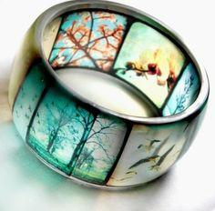 Viewfinder bangle.  Slide film bracelet [hand cast resin and old slide film]