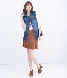 Colete Feminino Alongado em Jeans - Lojas Renner