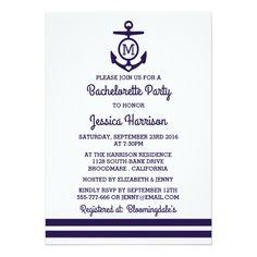 bachelorette beach party invitation Stripe Monogram Anchor Nautical Bachelorette Party Card