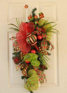 Christmas Swag Wreath Made With Pine Greenery and Deco Mesh, XL Christmas Ornament, Holiday Wreath, Polk A Dot Ribbon, Door Swag, Wall Decor...