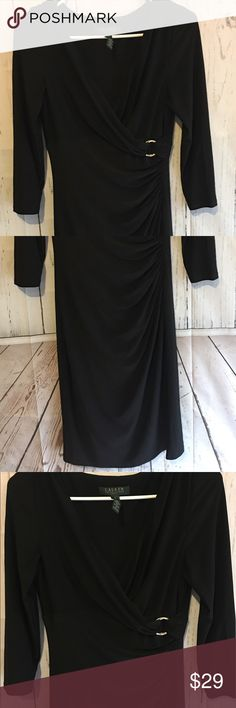 """Lauren Ralph Lauren Black Wrap Dress Sz 4 This dress is beautiful! It has quite a bit of stretch to it and and it measures 41.5"""" long 18"""" from armpit to armpit when it is laid flat and 20"""" from shoulder to sleeve. It is 95% Polyester and 5% Elastane. If you need additional measurements please let me know and I will get them to you quickly before purchasing. Lauren Ralph Lauren Dresses Long Sleeve"""