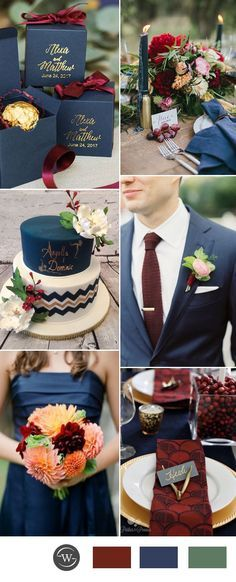 Stunning navy blue and burgundy wedding color ideas for 2017 trends