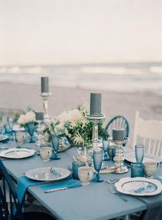 Ocean blue tablescape: http://www.stylemepretty.com/florida-weddings/boca-raton-fl/2015/01/14/winter-beachside-inspiration/   Photography: Melanie Gabrielle - http://melaniegabrielle.com/