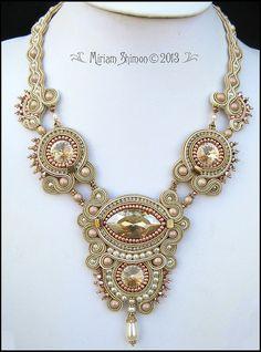 ~~Note Chain/Band~~ Caramel Cream Soutache Swarovski necklace by MiriamShimon on Etsy