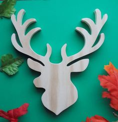 Items similar to Deer Head Unfinished DIY Solid Wood Decoration on Etsy Diy Home Crafts, Wood Crafts, Crafts For Kids, Diy Wood, Hand Router, Animal Cutouts, Christmas Wood, Christmas Ideas, Christmas Crafts