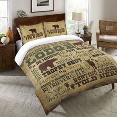 Lake, Lodge and Countryside Welcome to the Lodge Duvet Cover and Shams by Shawnda Craig