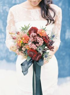 Rich + rustic fall ribbon bouquet: http://www.stylemepretty.com/2015/11/04/the-best-ever-ribbon-bouquets-you-need-to-see-right-now/: