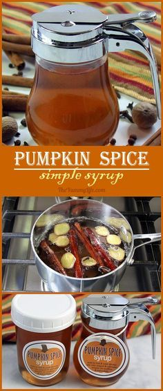 Pumpkin Spice Simple Syrup is so easy to make at home. Add this favorite flavor of Fall to hot and cold drinks--coffee, tea, cider, juice, . Pumpkin Recipes, Fall Recipes, Diy Pumpkin, Pumpkin Cookies, Nutella, Salsa Dulce, Homemade Syrup, Homemade Food, Pumpkin Spice Syrup