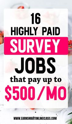Want to make money with online surveys? Get this list of 16 highly paid survey jobs that pay up to … Earn Extra Money Online, Online Surveys For Money, Surveys For Cash, Earn Money Fast, Paid Surveys, Earn Money From Home, Need Money Now, Hobbies That Make Money, Way To Make Money