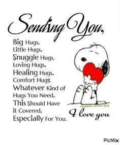 Snoopy bringing some love. Hug Quotes, Love Quotes, Motivational Quotes, Funny Quotes, Inspirational Quotes, Snoopy Quotes Love, Great Day Quotes, Snoopy Hug, Charlie Brown Quotes