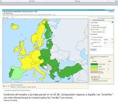 """Los países europeos """"más ricos"""" tienen una mayor presencia de la jornada parcial entre sus trabajadores."""