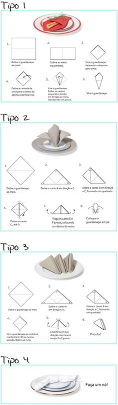 Ways to fold your napkins Dinning Etiquette, Table Setting Etiquette, Table Settings, Origami, Etiquette And Manners, Table Manners, Table Set Up, Napkin Folding, Deco Table