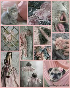 Soft Blush, Grey and White color palette inspiration collage idea.