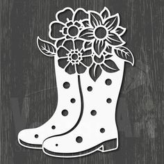 rubber boots with flower. SVG, DXF and EPS file. Suitable for die cutting or embossing Foam Crafts, Craft Stick Crafts, Diy And Crafts, Paper Crafts, Paper Flowers Craft, Flower Crafts, Flower Svg, Kirigami, Origami Templates