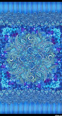 """eQuilter Belize - Paisley Plume - Lagoon Blue - 24"""" PANEL"""