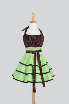 Etsy listing at https://www.etsy.com/listing/185038577/flirty-chic-apron-kiwi-green-plaid-with