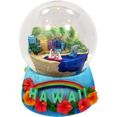 Hawaiian Souvenir - Musical Snow Globe of Waikiki Beach, 5.5H