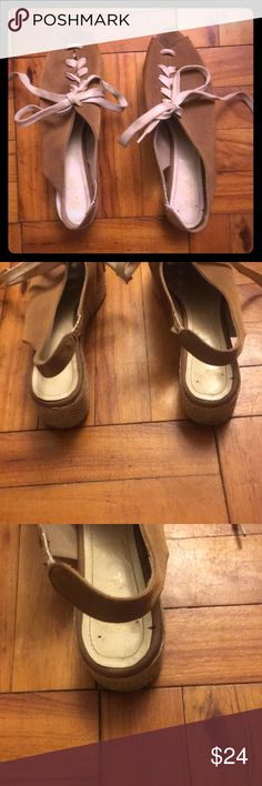 🛍BOGO HALF OFF🛍 Anthropologie Lace-up Platforms This listing is for one pair of suede and raffa Anthropologie lace-up platform shoes. The platform is made of woven raffa and is about 1.5 inches tall. There are minor signs of wear on the inside and soles as pictured - which is reflected in the price. Otherwise they are in excellent condition. **BUNDLE WITH ANY BOGO HALF OFF LISTING AND I WILL SEND AN OFFER WITH THE DISCOUNTED PRICE** Anthropologie Shoes Platforms