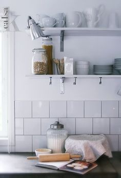 Flour jar, rolling pin, cook book and bread basket display Kitchen Shelves, Kitchen Dining, Kitchen Display, Kitchen White, Storage Baskets, Storage Shelves, Timber Shelves, Coloured Grout, Transforming Furniture