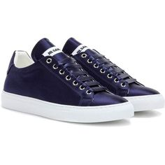 Jil Sander Satin Sneakers (1,610 SAR) ❤ liked on Polyvore featuring shoes, sneakers, flats, blue, jil sander flats, flat pumps, blue satin shoes, jil sander and flat heel shoes