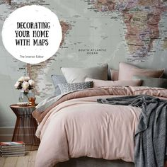 Mapping It Out - Decorating Your Home with Maps - The Interior Editor Master Bedroom Makeover, Master Bedroom Design, Dream Bedroom, Home Bedroom, Diy Bedroom Decor, Idee Diy, Guest Bedrooms, Guest Room, Handmade Home Decor