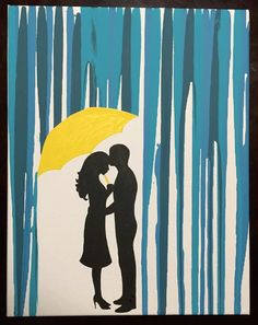 Silhouette Couple Under Umbrella Canvas By LaurenFrenchPottery