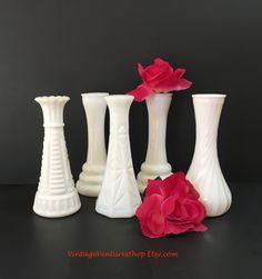 Instant collection of small bud vases at #VintageVenturesShop #Etsy to buy click image #MilkGlass #Vintage #VintageMilkGlass #MilkGlassVases #VintageVases #BudVases #WeddingVases #ShabbyDecor #CottageDecor #MidCenturyModern #WeddingDecoration #BridalShower #InstantCollectionMilkGlass