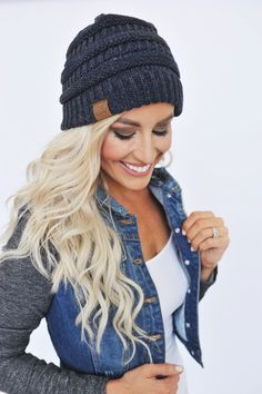 Knit Beanie- Navy - Dottie Couture Boutique