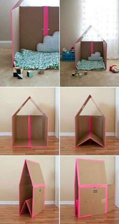 DIY house made with cardboard this would be cool for the girls to each have their own castle @Lauren Rambin