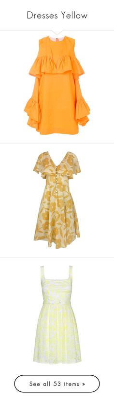 """""""Dresses Yellow"""" by shamrockclover ❤ liked on Polyvore featuring dresses, short yellow dress, flouncy dress, yellow sleeveless dress, yellow dress, short frilly dresses, casual dresses, yellow, vintage cotton dress and v-neck dresses"""