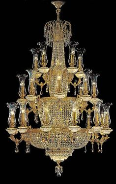 Model: YU 1596 from our Large Crystal Chandeliers Gallery has Gold finish with 40 lights Luxury Chandelier, Wood Chandelier, Vintage Chandelier, Crystal Pendant Lighting, Crystal Chandeliers, Luxury Home Furniture, Luxury Homes Dream Houses, Large Crystals, Lamp Light