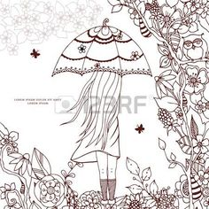 Vector illustration Zen Tangle, a girl with an umbrella in the park. Doodle drawing. Coloring book anti stress for adults. Brown and white. Фото со стока