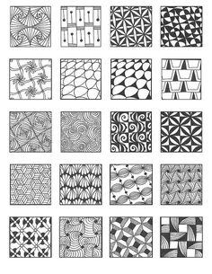 ZENTANGLE PATTERNS inspiration for those times you just can't conjure anything polar opposite what you've been in the habit of doodling Tangle Doodle, Tangle Art, Zen Doodle, Doodle Art, Zentangle Drawings, Doodles Zentangles, Doodle Drawings, Pencil Drawings, Doodle Patterns